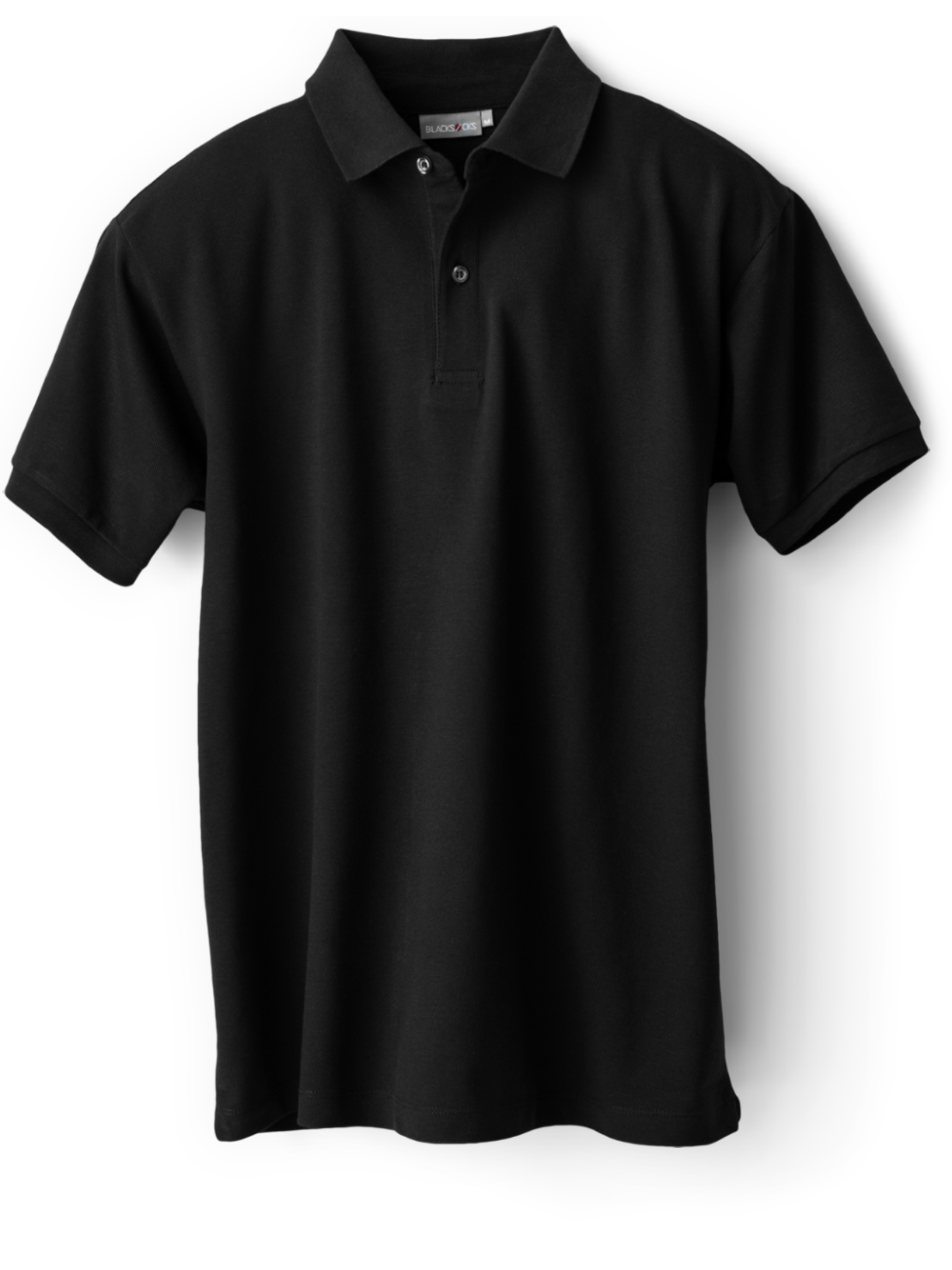 Black polo t-shirt.
